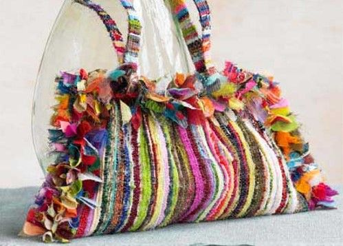 one-of-a-kind recycled-chic creations made from scraps of fabric.