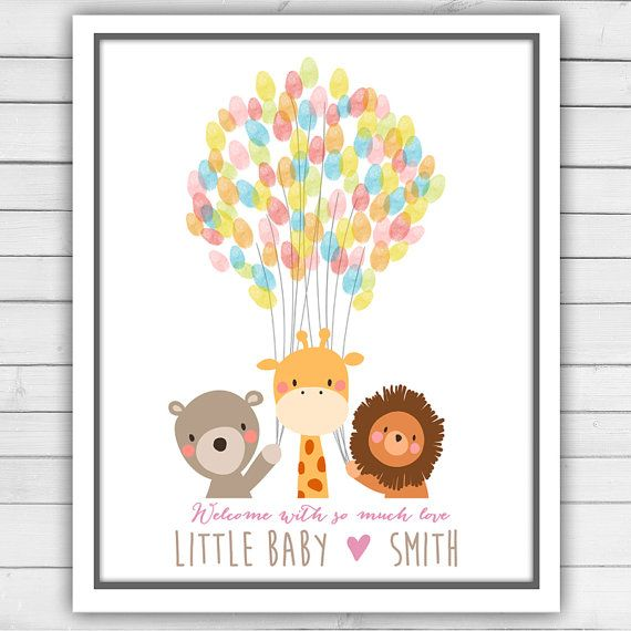 baby animals baby shower guestbook thumbprint by