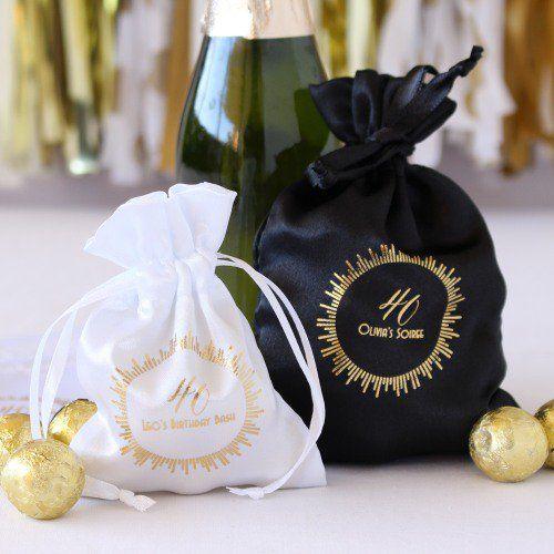 Personalized Milestone Satin Birthday Favor Bags