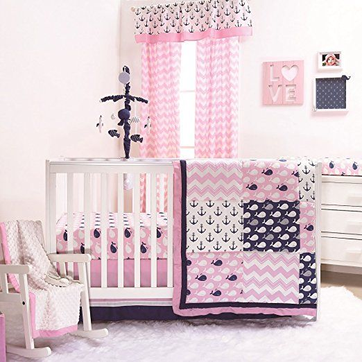 Nautical Whales And Anchors Pink 3 Piece Crib Bedding Set
