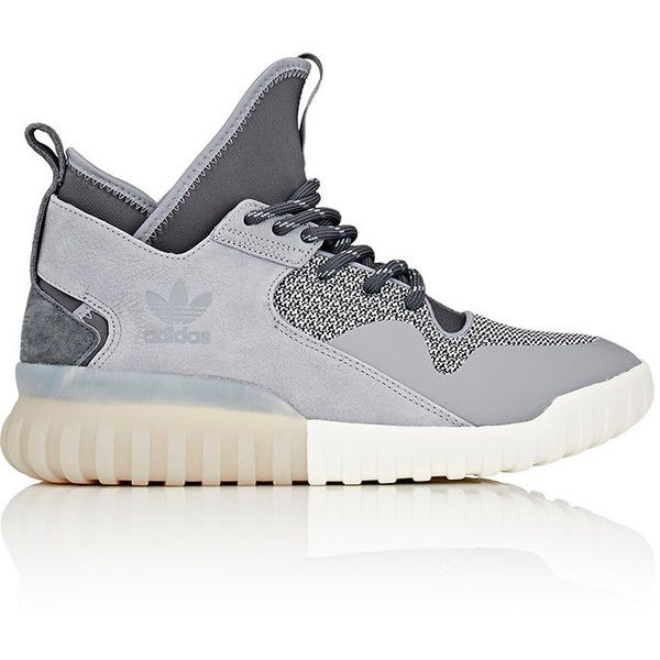 adidas Men's Tubular X Sneakers ($120) ❤ liked on Polyvore featuring men's fashion, men's shoes, men's sneakers, grey, mens high top sneakers, mens grey sneakers, mens gray dress shoes, mens grey shoes and mens high tops