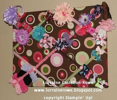 Memo board/Hair clip holder. Get all the instructions and see more pics at http://www.lorrainerowe.blogspot.com