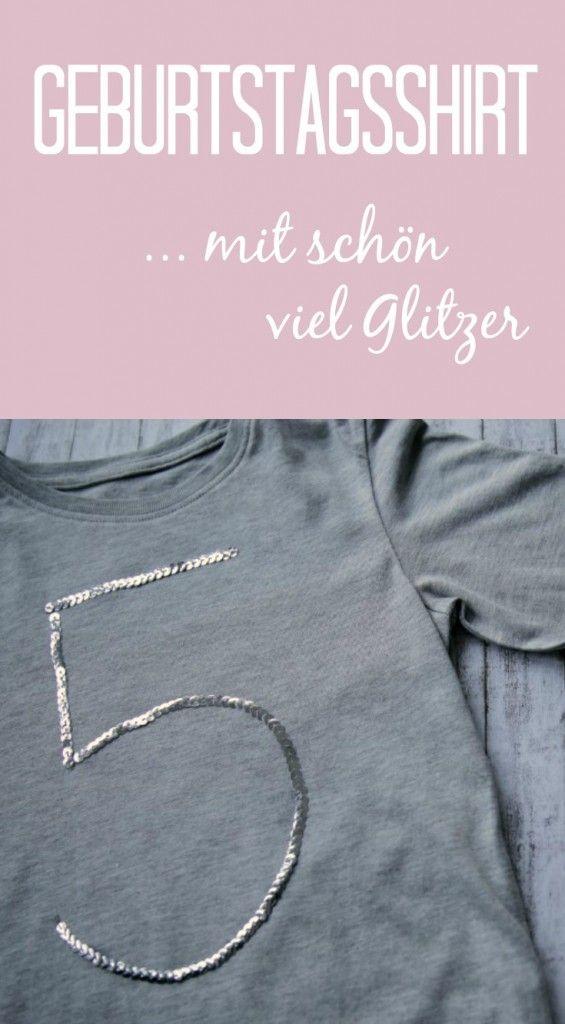 Geburtstagsshirt DIY ohne Nähen – ganz einfach mit Paillettenband und Stoffkleber