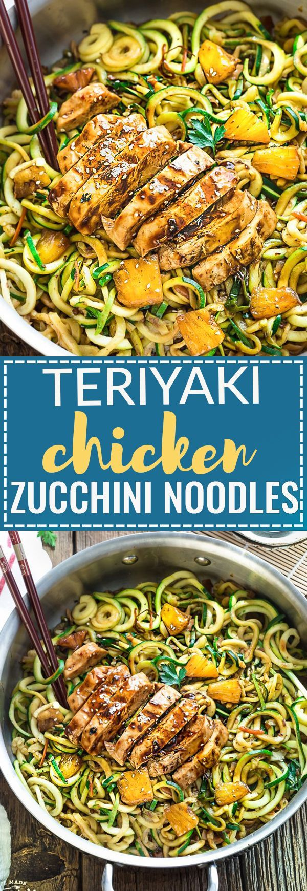This recipe for One Pot Teriyaki Chicken Zoodles {Zucchini Noodles} makes the perfect easy gluten-free (with paleo option) lower carb weeknight meal! Best of all, it's so much better and healthier than takeout - only 30 minutes to make with just one pan to clean! Great for Sunday meal prep for the week for your school or work lunchboxes or lunch bowls.