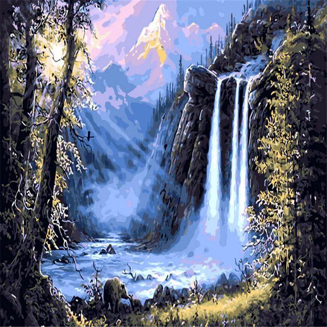 Pintura al óleo de la cascada del bosque por números DIY Pintura digital abstracta del cuadro por números en la decoración única casera 2017 del regalo de la lona