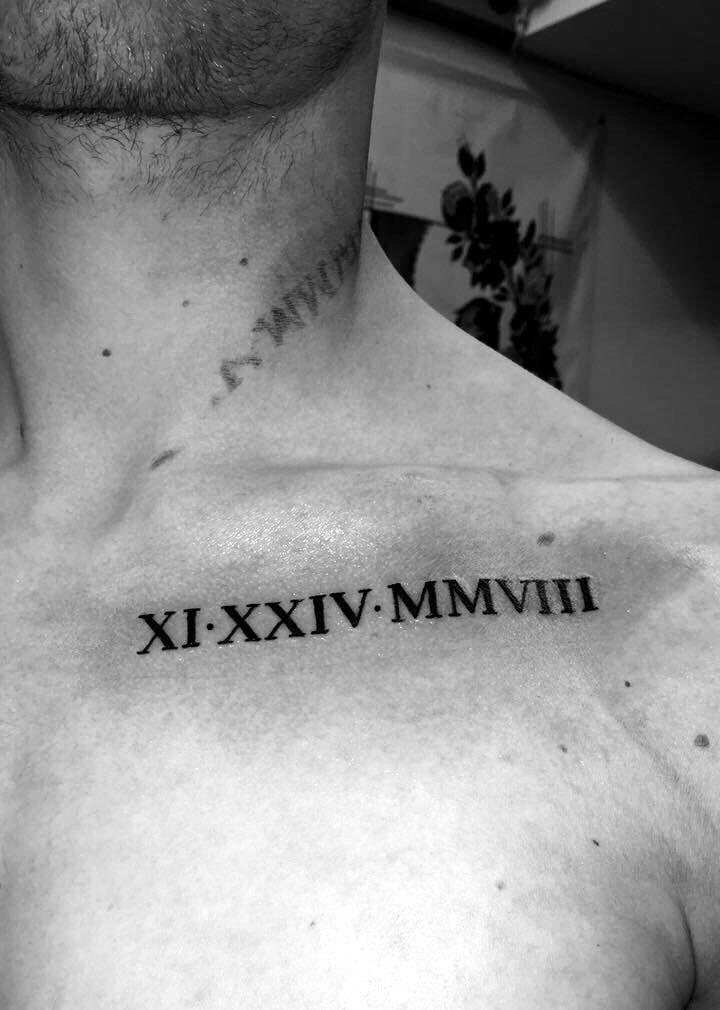 Collarbone Chest Roman Numerals Tattoo Tatuagens Numeral
