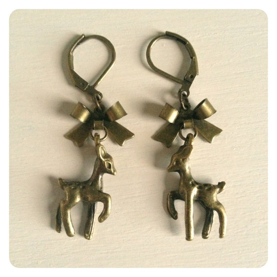 Back in stock:  Deer Bow Earrings by catsandwhiskers on Etsy, $12.00