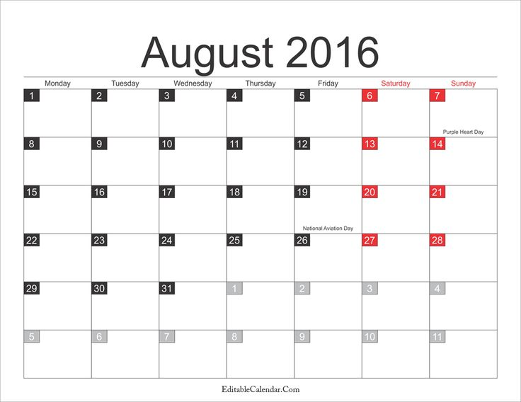 August 2016 Calendar with Holiday