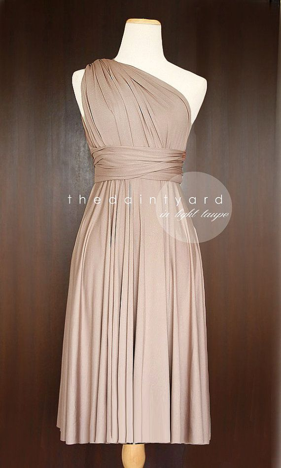 Short Straight Hem Light Taupe Bridesmaid Convertible Infinity Dress Multiway Wrap