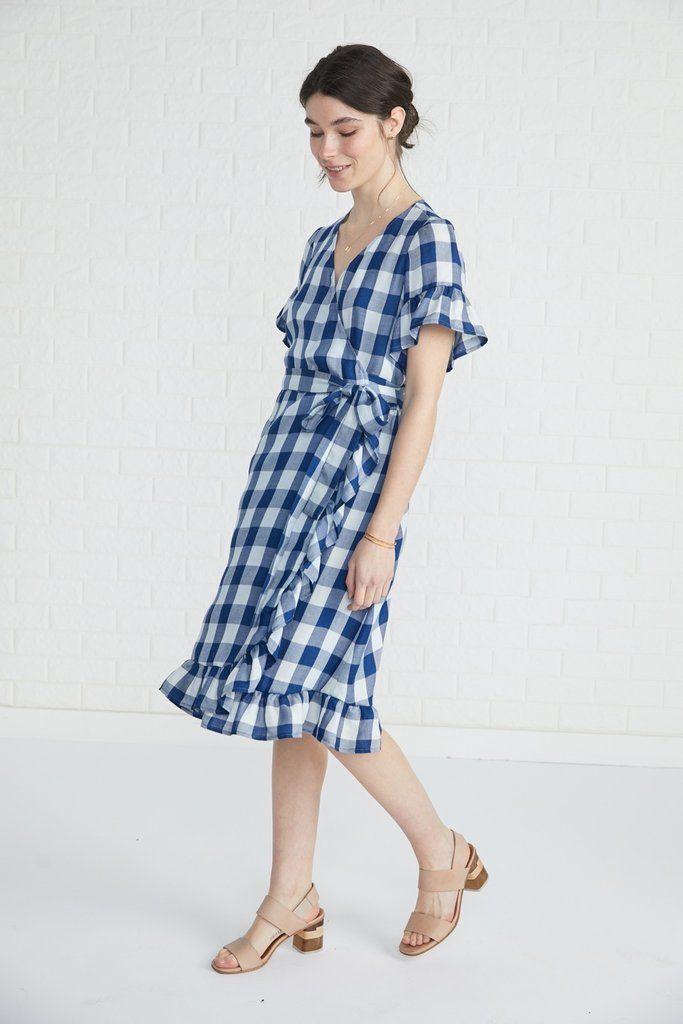 6ba0d688b Gina Wrap Dress (Check) – Day – Amour Vert | 2018 clothes | Dresses ...