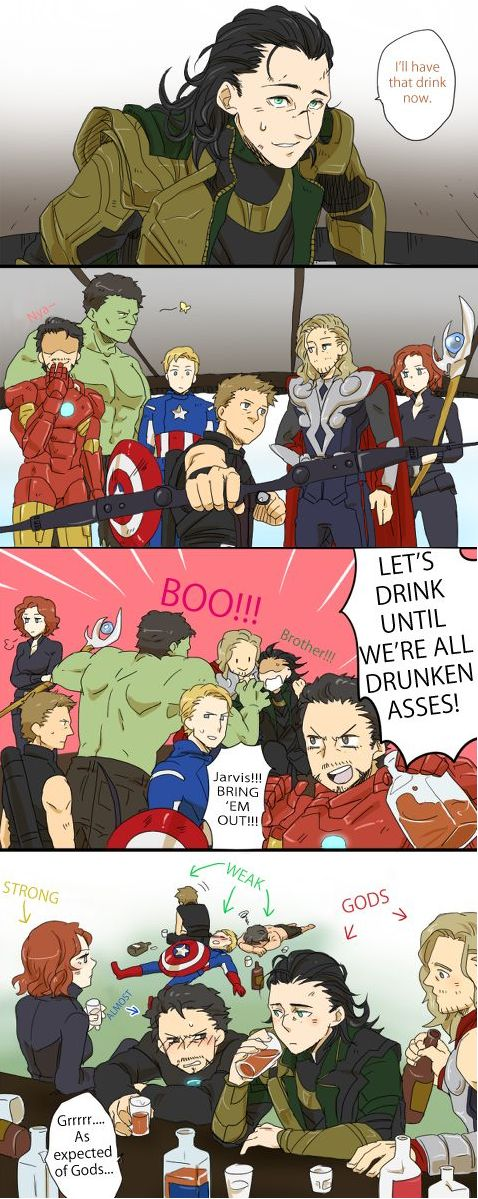 Lol. Actually Steve's metabolism is too fast for him to be able to get drunk but I absolutely love this.