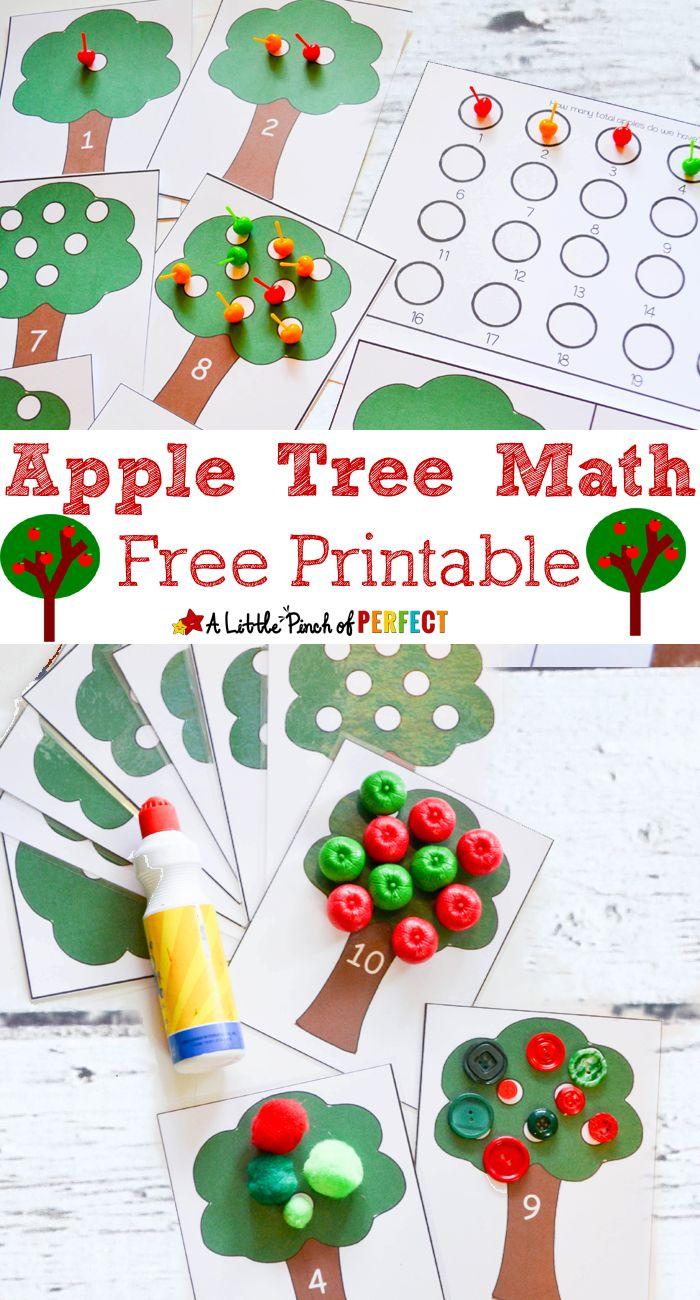 Kindergarten classroom decoration printables - Apple Tree Math Activity And Free Printable Kindergarten Preschool Counting Addition
