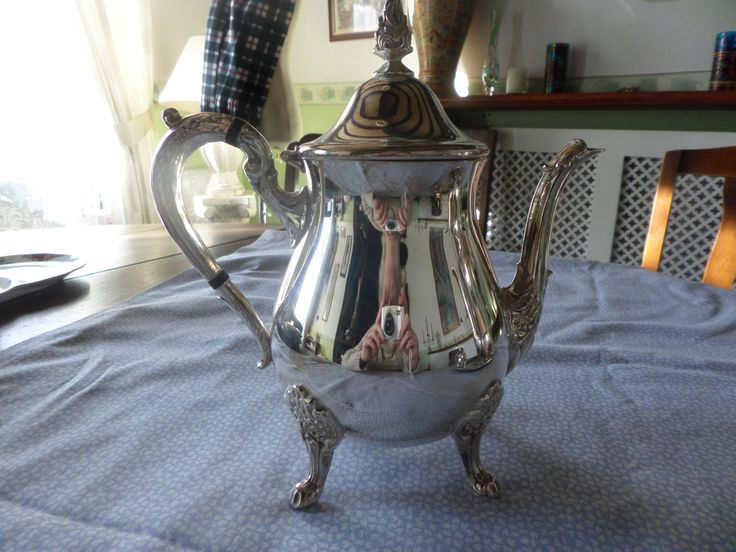 Silver plated teapot, English silver plate, Viners silver plate, Splayed feet, figured handle, figured spout, silver plate tableware by MaddisonsRainbow on Etsy