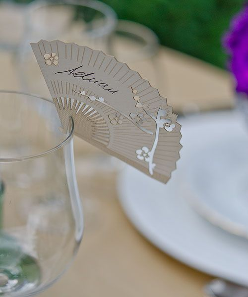 Cherry Blossom Fan Place Cards, Cherry Blossom Wedding Fan Place Cards | Japanese Style, Inc.