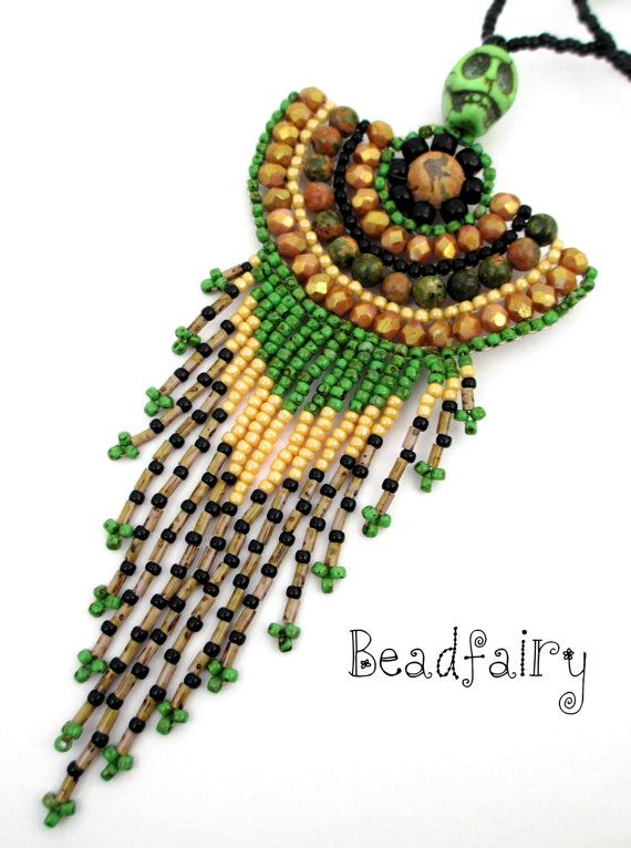 Green Epidote Talisman Necklace by BeadfairyStore on Etsy