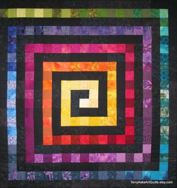 Art Quilt Wall Hanging Rainbow Square Spiral Quilt
