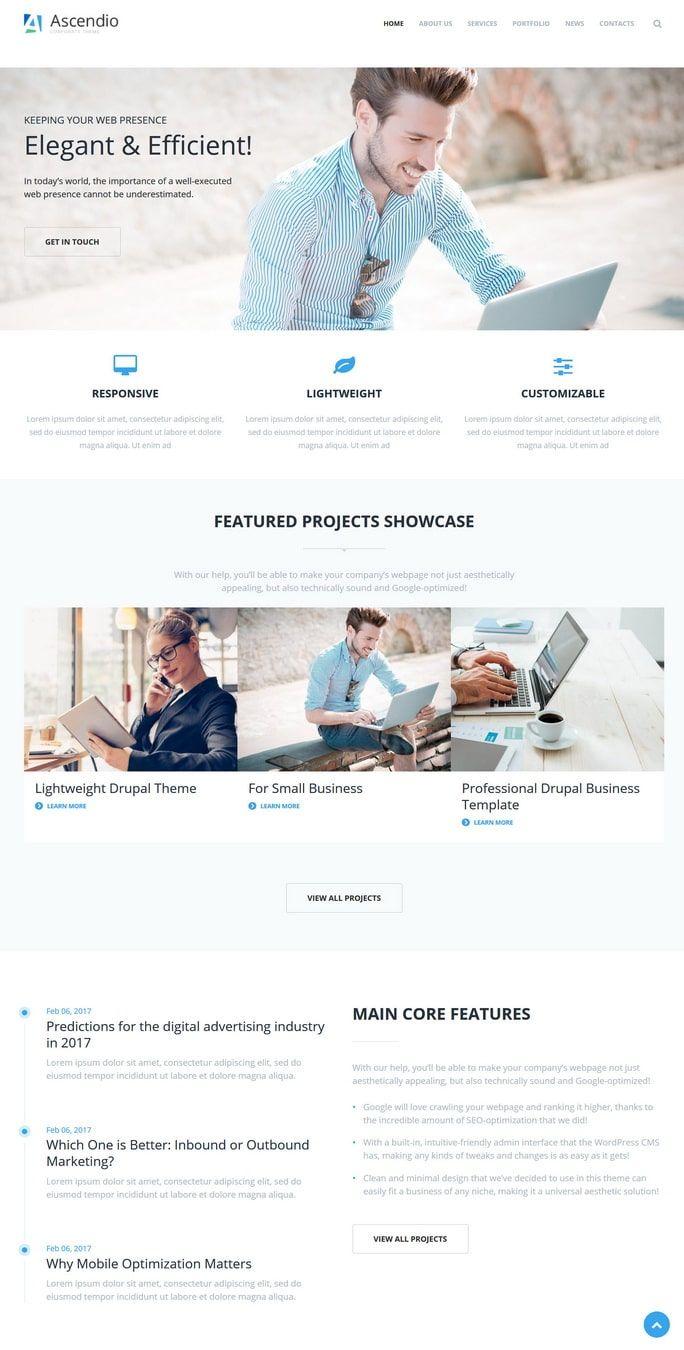 Ascendio Best Premium Drupal Template Business Services Themes