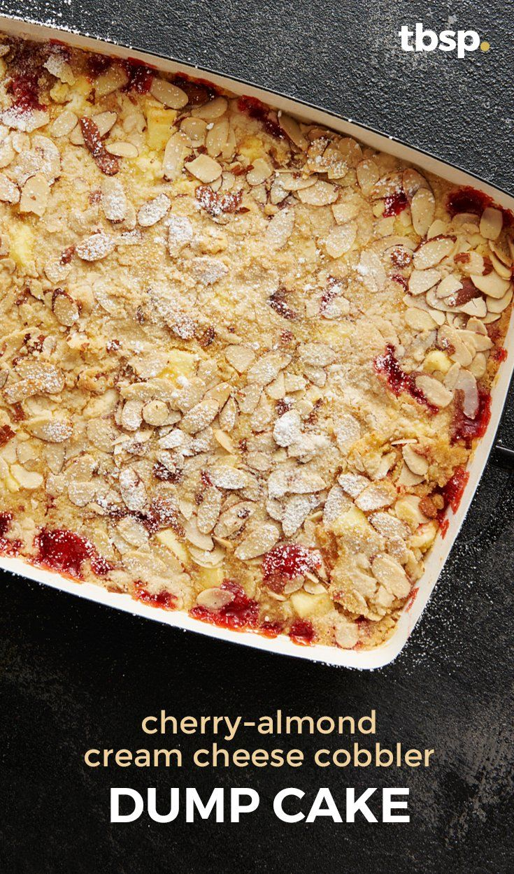 """The cherry pie filling, buttery cake mix and sliced almonds already made this a winner, and the pockets of melted cream cheese just put it over the top. Who knew something with """"dump"""" in the name could be so beautiful?"""