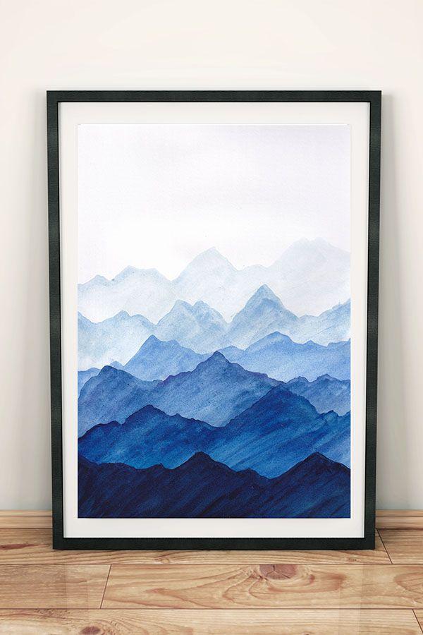 Wandbild mit blauen Bergen, Bild Landschaft Berge als Deko