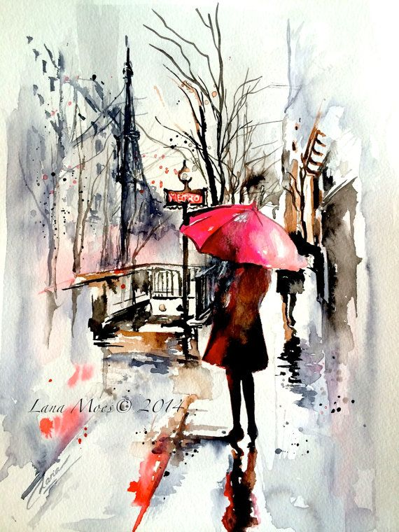 Paris Travel Watercolor Illustration - Original Watercolor by Lana Moes - Paris Inspired collection