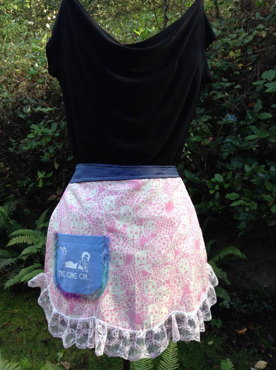 Fun half apron. Pink and Skulls with a pretty by WhatsOnTheCatwalk