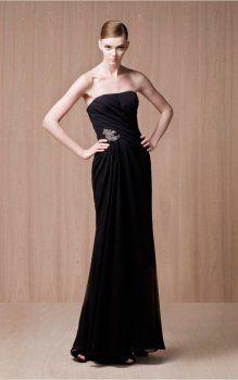 Bretelles noires élégantes robes de soirée-parole longueur