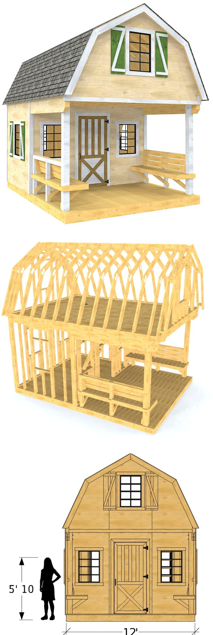 The Eugene shed plan is a gambrel style storage solution with a front porch, bench seating and loft.