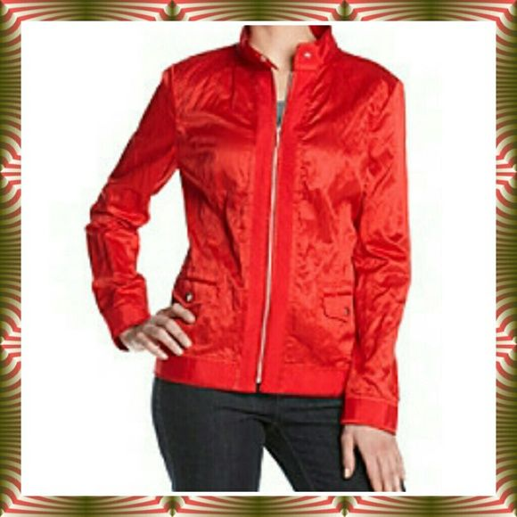 HPSALE Red Zip Up Crinkle Moto Jacket - NWT Shiny crinkle red jacket by Laura Ashley.  Made of 84% polyester/10% cotton/6% metallic...dry clean. Featured in red gem. Full front zip closure. Two flap front pockets. Ribbon trim at cuffs and hem. Laura Ashley Jackets & Coats
