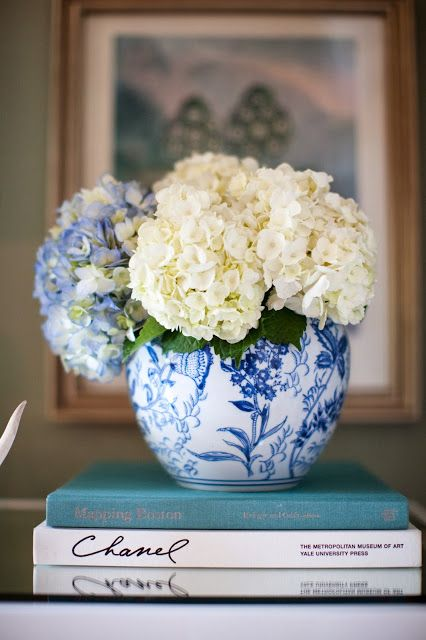 Blue and white hydrangeas.