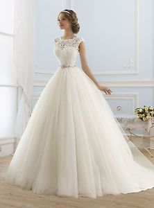 2016 New Cap Sleeve White Ivory Ball Gown Lace Tulle Wedding Dresses Custom Size | eBay