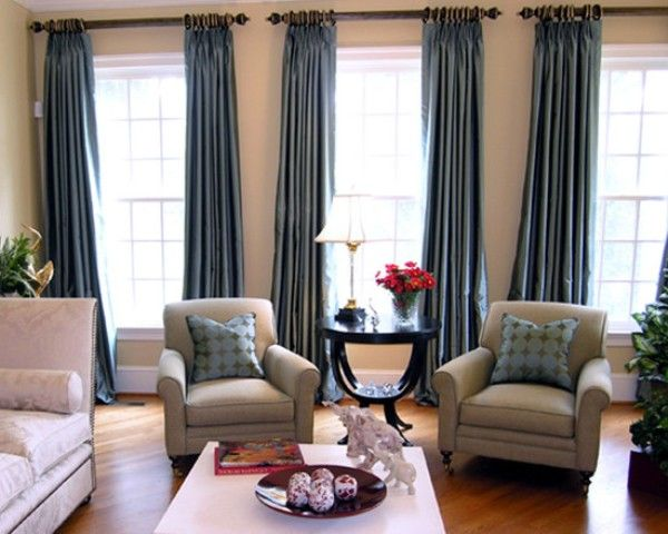 Three window curtains and chairs for the casa for Curtain for living room ideas