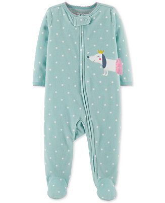 f84405535f4e Carter s Baby Girls 1-Pc. Dot-Print Dog Footed Coverall - Blue 3 ...