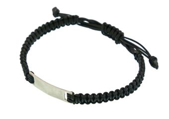 Handmade silver men`s identity bracelet made of silver 925o and black cord with macrame knitting. The bracelet has macrame ending - Χειροποίητο κόσμημα, αντρικό βραχιόλι ταυτότητα φτιαγμένο από ασήμι 925ο με μαύρο κορδόνι σε μακραμέ πλέξιμο.Το βραχιόλι αυξομειώνεται καθώς κλείνει με μακραμέ δέσιμο