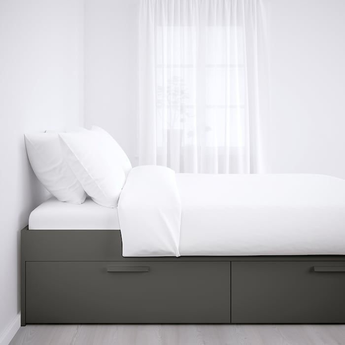 Brimnes Bed Frame With Storage Gray Ikea Bed Brimnes Frame Gray Ikea Storage In 2020 Brimnes Bett Verstellbare Betten Ikea