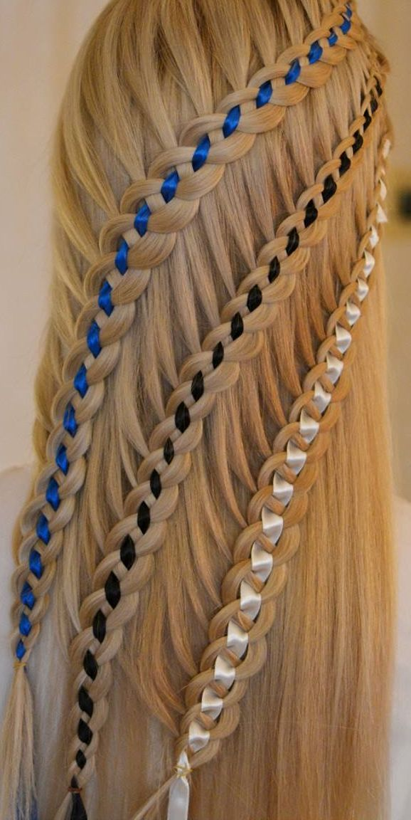 Waterfall braids, four strand, half up