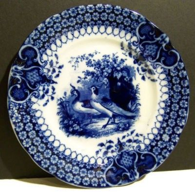 Antique FLOW BLUE PHEASANT GAME BIRD PLATE India V&B | #154787482