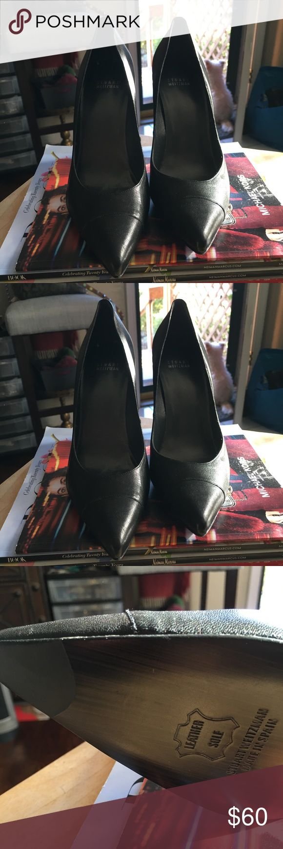 Stuart Wiseman Pumps. NWOT Brand new classic black Stuart Wiseman pumps. They have a great cap toe detail and a nice thick heel that helps with comfort. There is a sleek pointed toe and light padding in the heel and ball of the foot. They are a narrow width and 4 1/2 inch heel height. Stuart Weitzman Shoes Heels