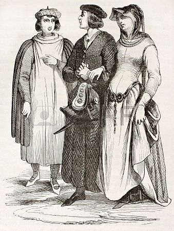 meldenInloggen Stockfoto - Franse bourgeois in traditionele middeleeuwse kleding, oude illustratie. Na manuscript van Wonderen de Saint Loui...