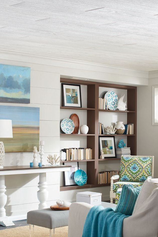 Heading To The Beach This Summer Bring This Beachy Rustic Look Home With Country Classic Planks Like This Low Ceiling Low Ceiling Basement Basement Ceiling