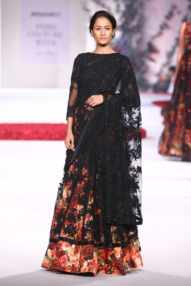 Varun Bahl black net lehenga saree with floral print
