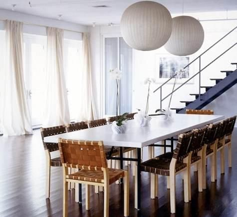 pair of bubble lamps  Anabelle Seldorff of Selldorf Architects: Ideas, Dining Room, Dining Table Lighting, Nelson Pendant, Kitchen, Selldorf Architects, Pendant Lights, Anabelle Seldorff, Photo