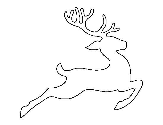 Flying reindeer pattern. Use the printable outline for crafts, creating stencils, scrapbooking, and more. Free PDF template to download and print at http://patternuniverse.com/download/flying-reindeer-pattern/: