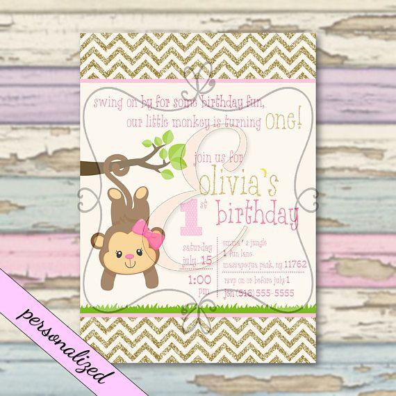 Our Little Monkey First Birthday Pink Gold Chevron Birthday