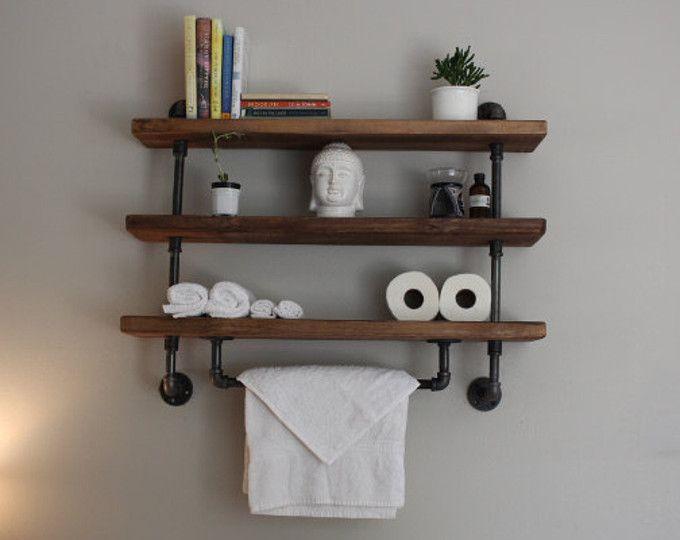 reclaimed barn wood bathroom shelves deco pinterest tuyauterie industrielle tag res de. Black Bedroom Furniture Sets. Home Design Ideas
