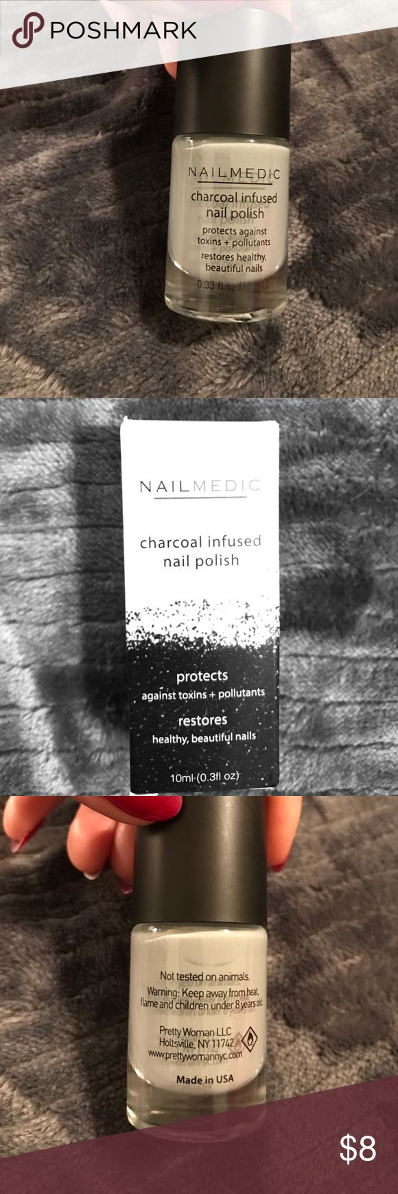 Nailmedic Charcoal infused nail polish Charcoal infused nail polish. Protects against toxins and pollutants. Restores healthy beautiful nails! Color: Volcanic Ash- Brand new! nailmedic Other