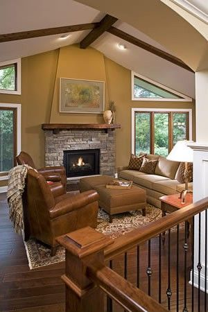 Whole home remodel in Mendota Heights, MN features this great room fireplace