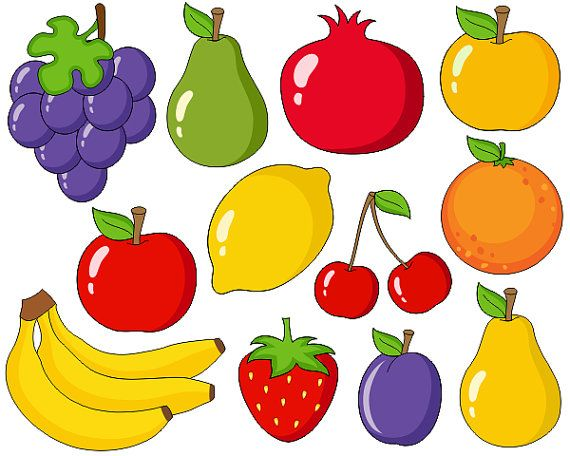 Cute Fruits Digital Clip Art Grapes Apple Bananas Pear ...