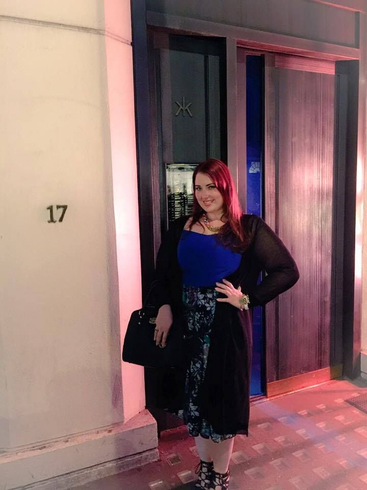 Out to dinner last night wearing this fabulous outfit from @evansclothing! It's all about the midi skirts! Scarlett And Jo Navy Blue Print Skirt paired with Collection Cobalt Blue Bralet Top and Evans Black Open Knit Textured Longline Cardigan. #plussizefashion #fashion #fashionista #curvywomen #curves #plussize