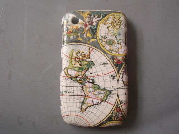 World Map decoupage case/ Thai style/ for Blackberry by Nannapatt, $14.50