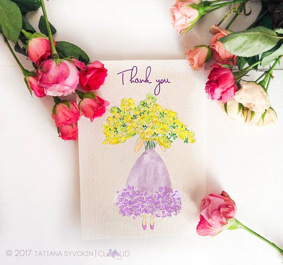 Thank you card for her Girl with flowers Yellow Lilac Purple flowers Mimosa bouquet Handpainted card Handmade card Printed card Pretty card